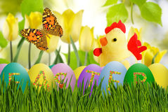 Image of toy chick and Easter eggs in grass close-up Stock Photo