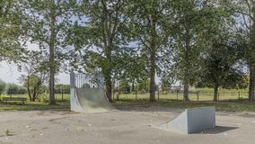 Image of a track for skateboards or skateboard jumping in a park royalty free stock photo