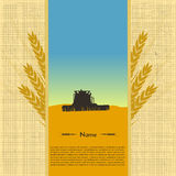 Image tractor silhouette in a field of wheat. Vector illustration Stock Images