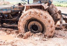 The image of tractor wheel in the mud Royalty Free Stock Photos