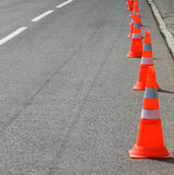 Image of traffic cone on the road closeup Stock Images