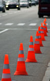 Image of traffic cone on the road closeup Royalty Free Stock Images