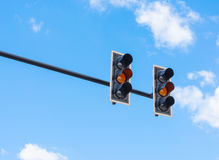image of traffic light, the amber light is lit. symbolic  for wa Royalty Free Stock Images