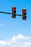 Image of traffic light, the red light is lit. symbolic  for hold Royalty Free Stock Photo