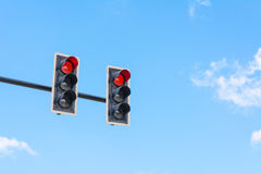 Image of traffic light, the red light is lit. symbolic  for hold Stock Image
