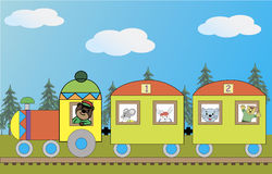 Image of the train with the beasts royalty free illustration