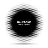 Image tramée abstraite noire Dots Logo Design de cadre de cercle Image stock