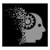 Image tramée Brain Gears Rotation Icon de pixel réduite en fragments par blanc illustration stock