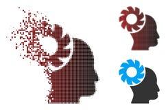 Image tramée Brain Wheel Icon de pixel de la poussière Photos libres de droits