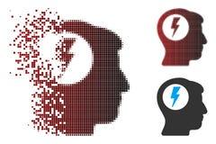 Image tramée cassée Brain Electric Shock Icon de pixel Photographie stock libre de droits