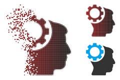 Image tramée cassée Brain Gear Icon de pixel Photo stock