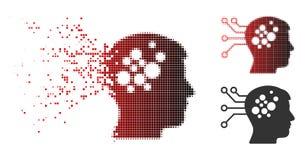 Image tramée cassée Brain Interface Circuit Icon de Pixelated illustration de vecteur