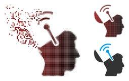 Image tramée cassée Brain Radio Interface Icon ouvert de pixel Photographie stock