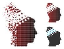 Image tramée cassée Brain Shower Icon de pixel illustration stock