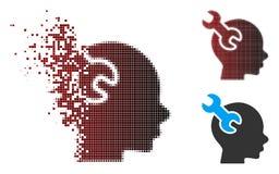 Image tramée déchiquetée Brain Service Wrench Icon de pixel Photo stock