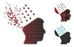 Image tramée déchiquetée Brain Shower Icon de pixel Image stock