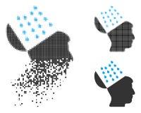 Image tramée déchiquetée Brain Shower Icon de Pixelated illustration stock