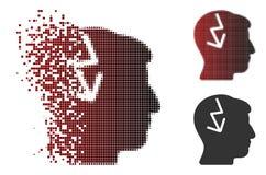 Image tramée décomposée Brain Electric Strike Icon de pixel Images stock