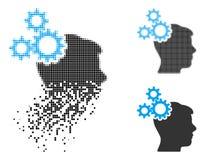 Image tramée décomposée Brain Gears Icon de pixel illustration de vecteur