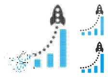 Image tramée décomposée Rocket Success Bar Chart Icon de Pixelated illustration stock