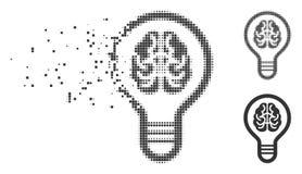 Image tramée détruite Brain Bulb Icon de pixel Images stock
