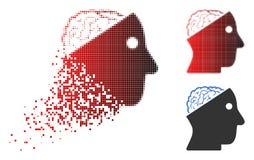Image tramée détruite Brain Icon ouvert de pixel illustration de vecteur