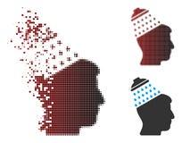 Image tramée détruite Brain Shower Icon de pixel Images stock