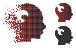 Image tramée détruite Brain Wrench Tool Icon de pixel Photo libre de droits