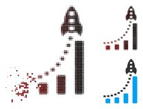 Image tramée de désintégration Rocket Business Bar Chart Icon de pixel illustration libre de droits