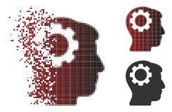 Image tramée de disparition Brain Gear Icon de pixel Image stock