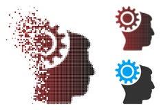 Image tramée de disparition Brain Gear Icon de pixel Photos stock