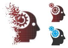 Image tramée de disparition Brain Gears Rotation Icon de pixel Image stock