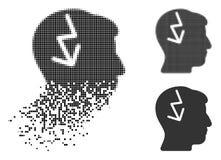 Image tramée dispersée Brain Electric Strike Icon de Pixelated illustration stock