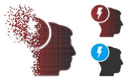 Image tramée dispersée Brain Electricity Icon de pixel Photos libres de droits