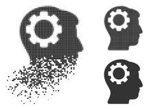 Image tramée dispersée Brain Gear Icon de Pixelated illustration stock
