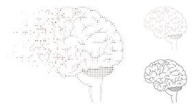 Image tramée dispersée Brain Icon de Pixelated illustration de vecteur