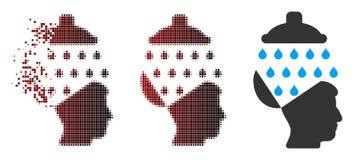 Image tramée dispersée Brain Shower Icon ouvert de pixel Images stock