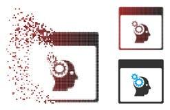 Image tramée dispersée Brain Wheels Calendar Page Icon de pixel Image libre de droits