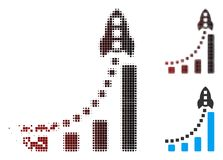 Image tramée dispersée Rocket Business Bar Chart Icon de pixel illustration libre de droits