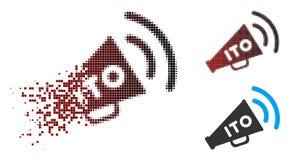 Image tramée dissoute ITO Alert Megaphone Icon de pixel Illustration Stock