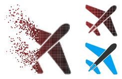 Image tramée dissoute Jet Airplane Icon de pixel illustration stock