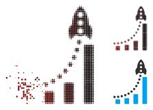 Image tramée dissoute Rocket Success Bar Chart Icon de pixel illustration de vecteur