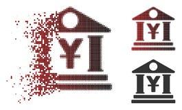 Image tramée endommagée Yen Bank Building Icon de pixel illustration de vecteur
