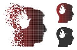 Image tramée réduite en fragments Brain Fire Icon de pixel Photographie stock