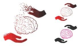 Image tramée rompue Brain Care Hands Icon de Pixelated illustration libre de droits