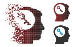 Image tramée rompue Brain Key Icon de pixel Image stock