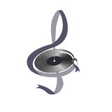 Image treble clef and vinyl records Stock Photography