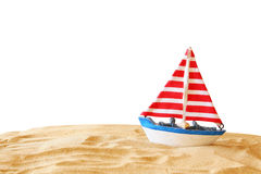 Image of tropical sandy beach and sailboat Royalty Free Stock Image