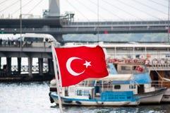 Image of Turkey flag. Turkey flag is waving near Galata bridge in Istanbul stock photo