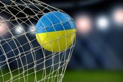 Ukrainian soccerball in net Royalty Free Stock Photo